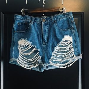 Distressed High-Waisted Jean Shorts